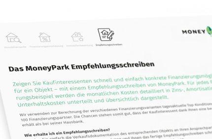 Das MoneyPark Empfehlungsschreiben